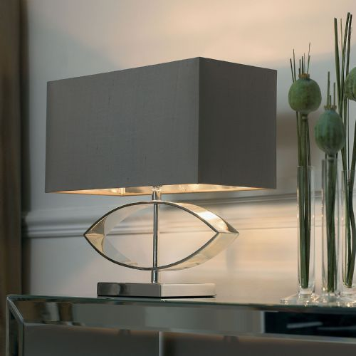 Silver Table Lamp Complete With Shade TRAMINI